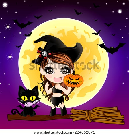 Cartoon of Devil Cat and Cute Witch Holding Halloween Pumpkin (Jack O Lantern) on  Halloween Background. - stock photo