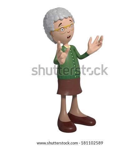 Cartoon of elderly lady in green cardigan - stock photo