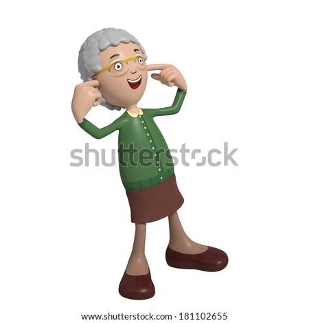 Cartoon of elderly lady in green cardigan blocking ears - hear no evil - stock photo