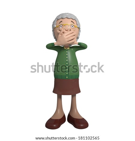 Cartoon of elderly lady in green cardigan holding mouth close - speak no evil - stock photo