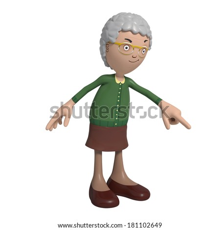 Cartoon of elderly lady in green cardigan pointing down - stock photo