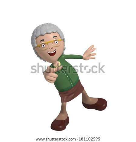 Cartoon of elderly lady in green cardigan pointing excitedly - stock photo