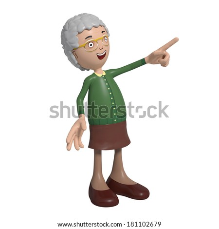 Cartoon of elderly lady in green cardigan pointing right - stock photo