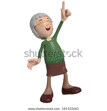 Cartoon of elderly lady in green cardigan pointing upward and laughing - stock photo
