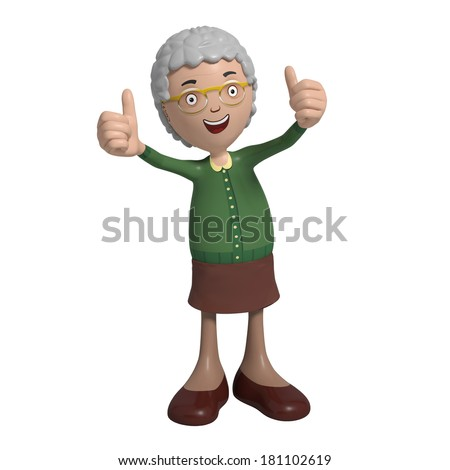 Cartoon of elderly lady in green cardigan showing thumbs-up - stock photo