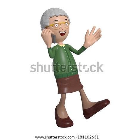 Cartoon of elderly lady in green cardigan walking while talking on mobile phone - stock photo