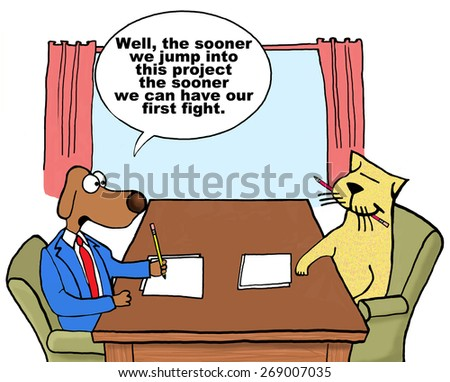 Cartoon of two businesspeople cat and dog on project together who do not get along, they might as well start so they can have their first fight. - stock photo