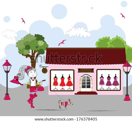 Cartoon of Woman window shopping with dog - stock photo