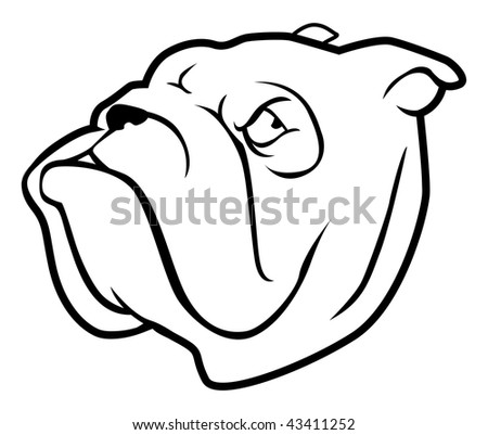 cartoon outline vector illustration of a bulldog
