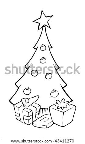 Cartoon Vector Outline Illustration Fir Tree Stock Vector ...