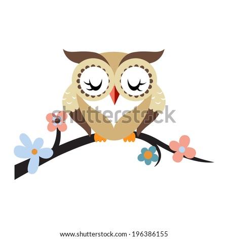 Cartoon owl on a flowering tree branch. Raster. - stock photo