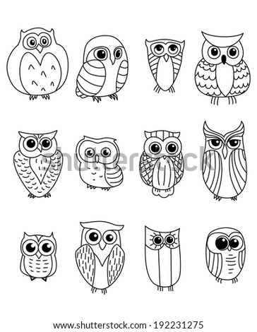 Cartoon owls and owlets birds logo isolated on white background. Vector version also available in gallery - stock photo