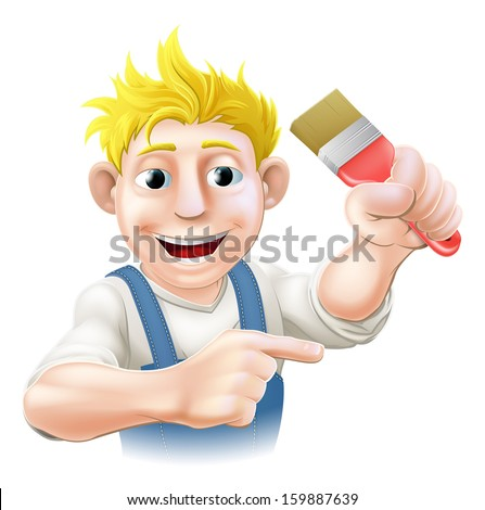 Cartoon painter or decorator holding a paintbrush and pointing with his finger - stock photo