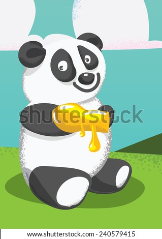 Cartoon panda eating honey. A cute cartoon vintage style panda bear eating some runny honey. - stock photo