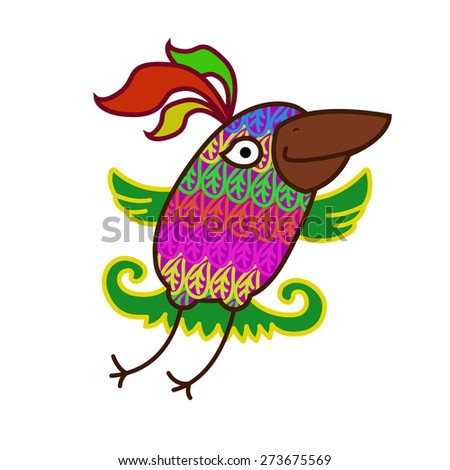 Cartoon parrot. Cheerful flying colorful bird. Bird on isolated background - stock photo