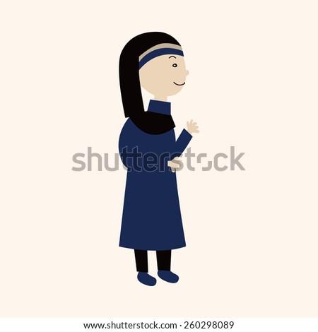 cartoon pastor and nun   - stock photo