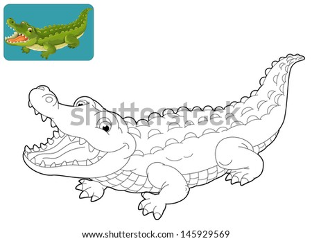 Illustration Cartoon Crocodile Coloring Book Stock Vector