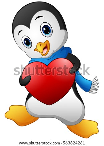 Cartoon penguins holding hands - photo#44
