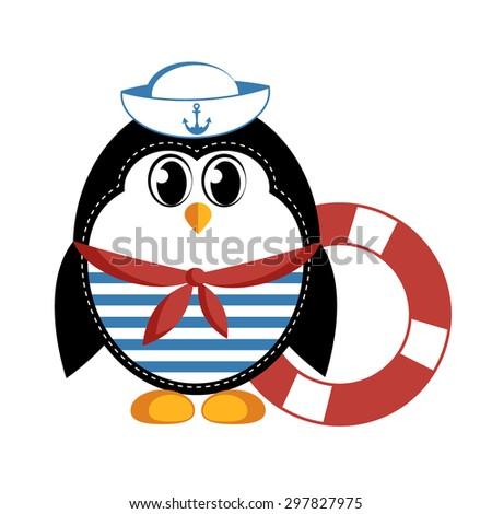 Cartoon penguin. Raster version - stock photo
