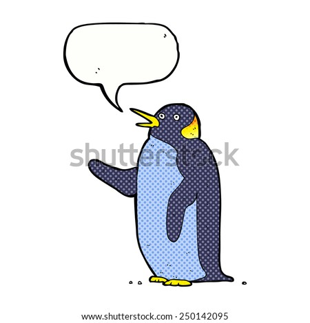 cartoon penguin waving with speech bubble - stock photo