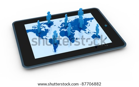cartoon people on a world map with a computer tablet (3d render)