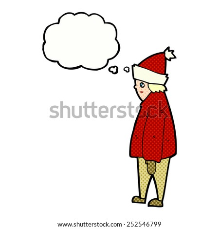 cartoon person in winter clothes with thought bubble - stock photo