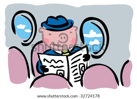 """Cartoon pig in business suit flying alone inside airplane to illustrate """"When pigs fly"""" metaphor - stock photo"""