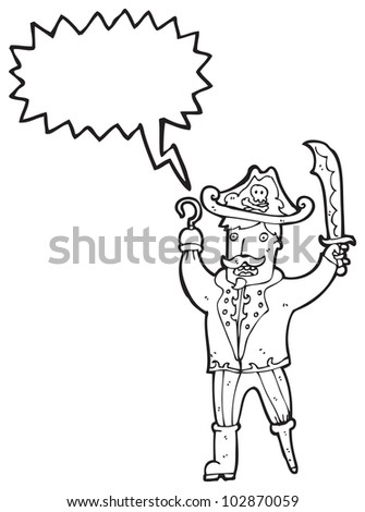 cartoon pirate captain - stock photo