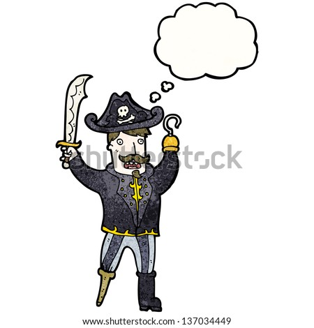 cartoon pirate captain with hook hand - stock photo