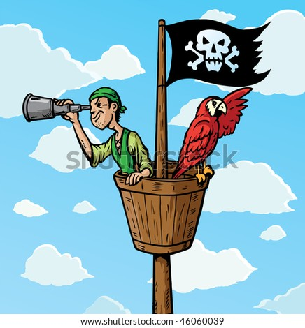 cartoon pirate scout with parrot on the lookout part of a series