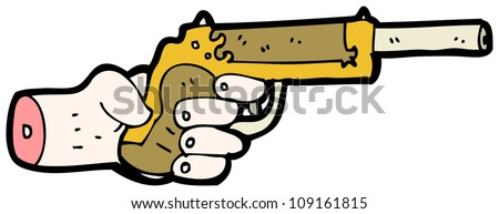 cartoon pistol and hand - stock photo