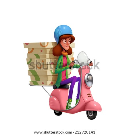 Cartoon. Pizza delivery. Girl riding pink motor bike. - stock photo