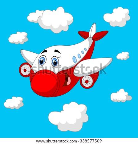 Cartoon plane character - stock photo