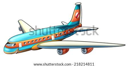 Cartoon plane - illustration for the children - stock photo