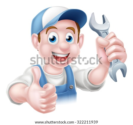 Cartoon Plumber or auto repair mechanic service handyman worker man giving a thumbs up and holding a spanner - stock photo