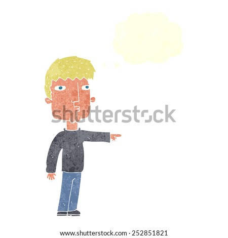 cartoon pointing man with speech bubble - stock photo