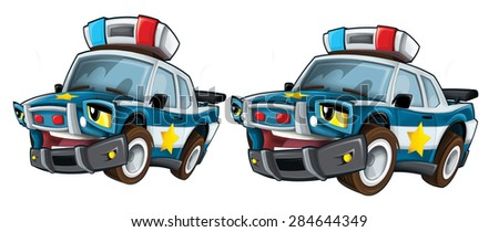 Cartoon police - caricature - illustration for the children - stock photo