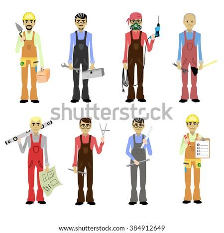 Cartoon Professions Set Worker, Builder, Foreman, Engineer, Plumber, Carpenter, Electrician, Mason, Master Isolated Illustration - stock photo