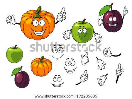 Cartoon pumpkin, plum and apple with happy faces isolated on white background. Vector version also available in gallery - stock photo