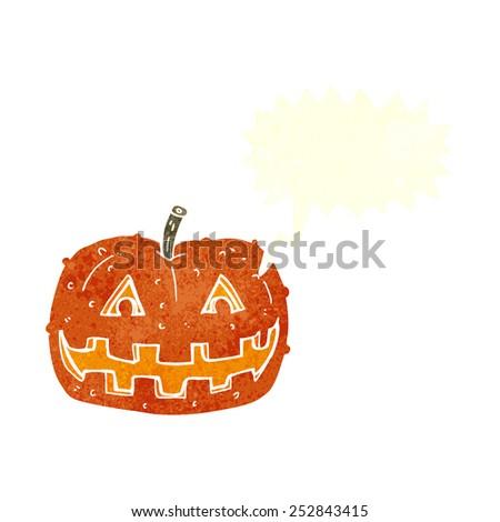 cartoon pumpkin with speech bubble - stock photo
