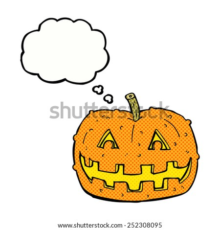 cartoon pumpkin with thought bubble - stock photo