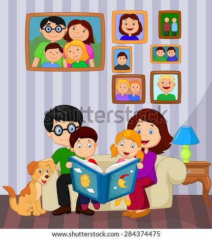Cartoon read a story book in the living room - stock photo