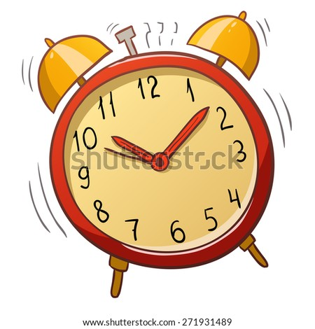 Cartoon red alarm clock with gold bells - stock photo
