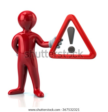 Cartoon red man character holding  warning attention sign with exclamation mark - stock photo
