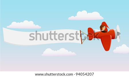 Cartoon red plane with pilot and advertising banner. Vector available. - stock photo