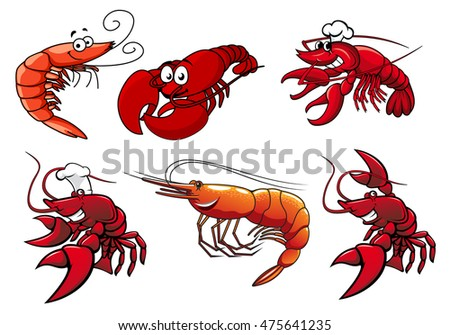Cartoon Red Shrimp Crab And Lobster Characters With Smiling Faces Googly Eyes Isolated On