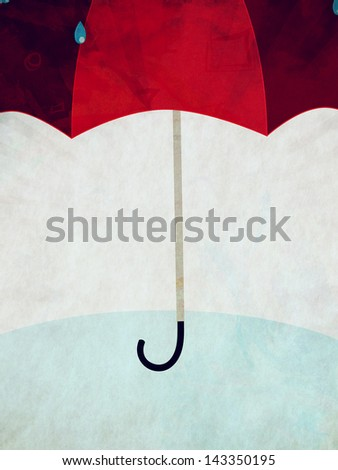 Cartoon red umbrella under rain on grunge blue background. - stock photo