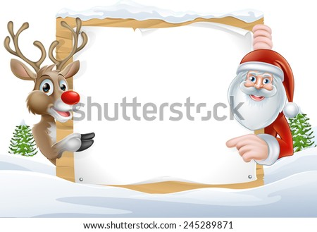 Cartoon Reindeer and Santa pointing at a snow covered sign in a winter landscape - stock photo