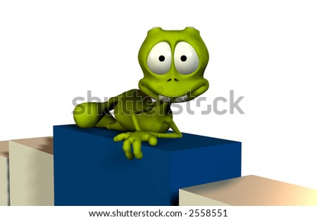 cartoon render with clipping mask above sits on podium or boxes - stock photo