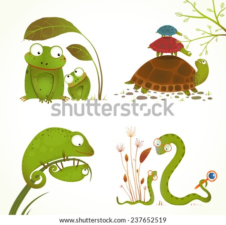 Cartoon Reptile Animals Parent with Baby Collection. Brightly colored childish frogs turtles snakes lizards. Raster variant. - stock photo
